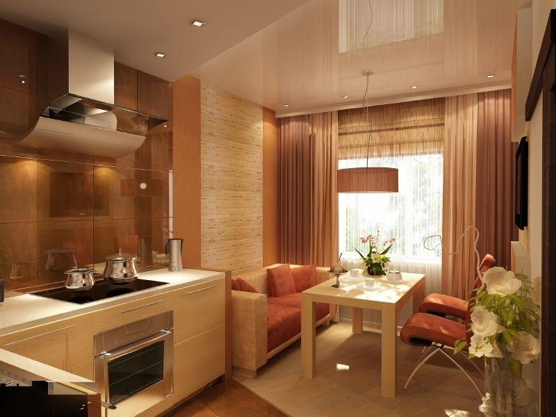 Квадратная кухня 16 кв м дизайн с диваном