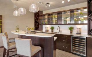 Барная стойка в гостиной, совмещенной с кухней: варианты дизайна с фото