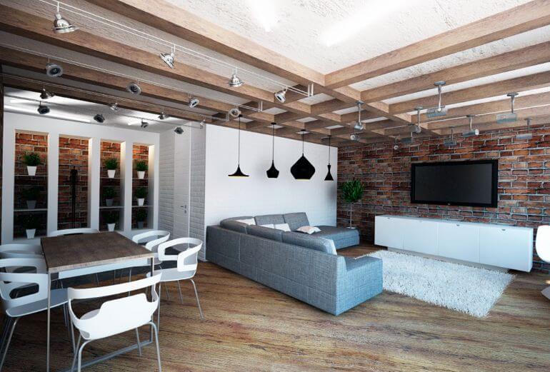 Балки на потолке и много светильников