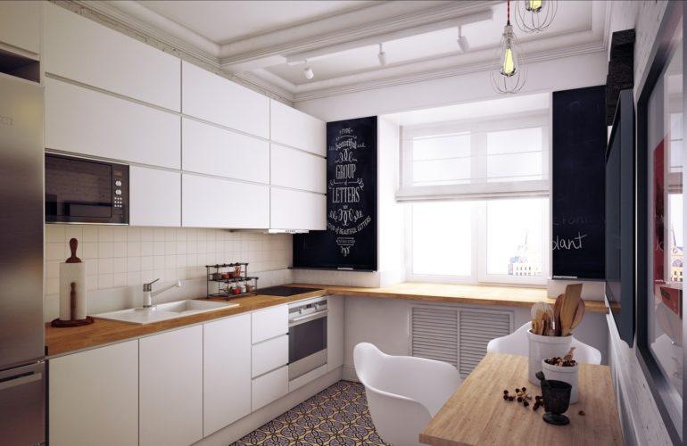 Однорядная линейная планировка лучше всего подходит для узкой и вытянутой кухни