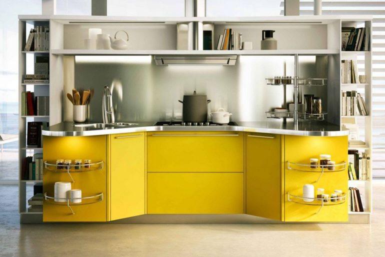 Прямая желтая кухня в стиле хай-тек