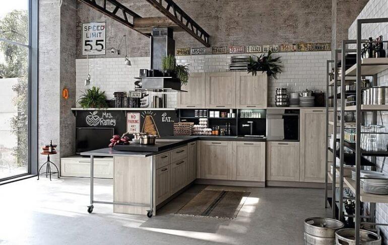 Большая кухня стиля лофт отлично вписывается в общую атмосферу квартиры или загородного дома