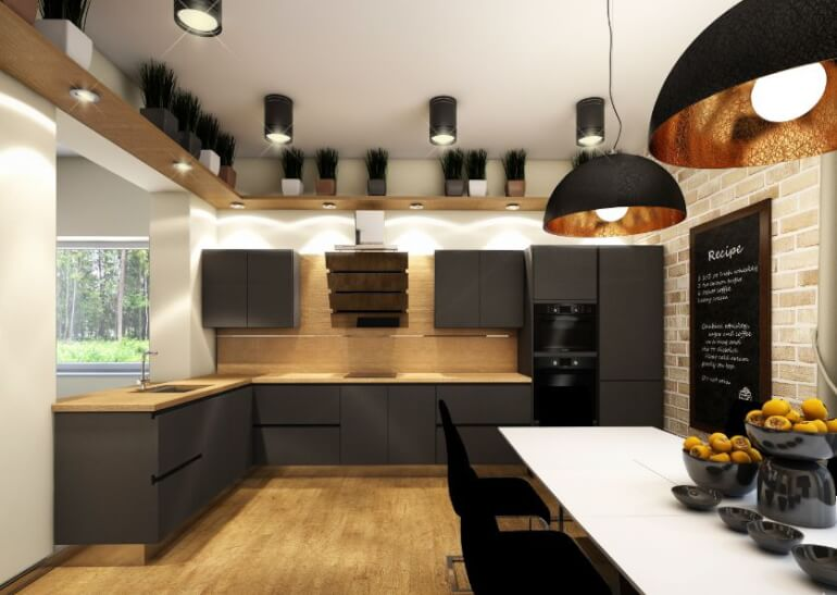 Лофт-стиль подразумевает множество источников освещения, выполненных из металла или стекла