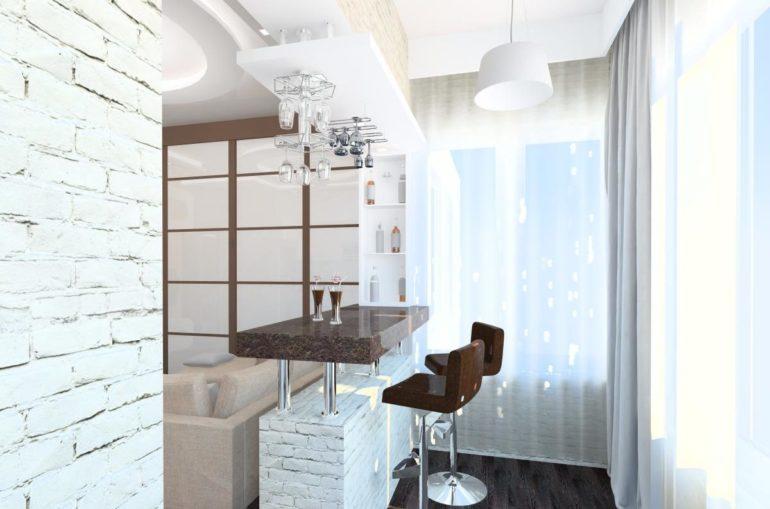 При объединении кухни с балконом часть стены можно превратить в шикарную барную стойку