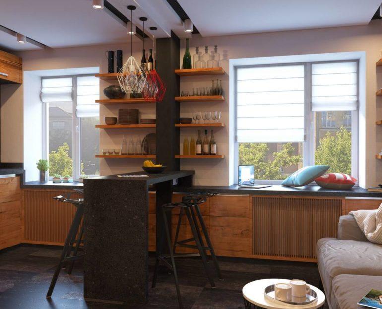 Современные барные стойки бывают различных конструкций и могут располагаться в разных местах кухни