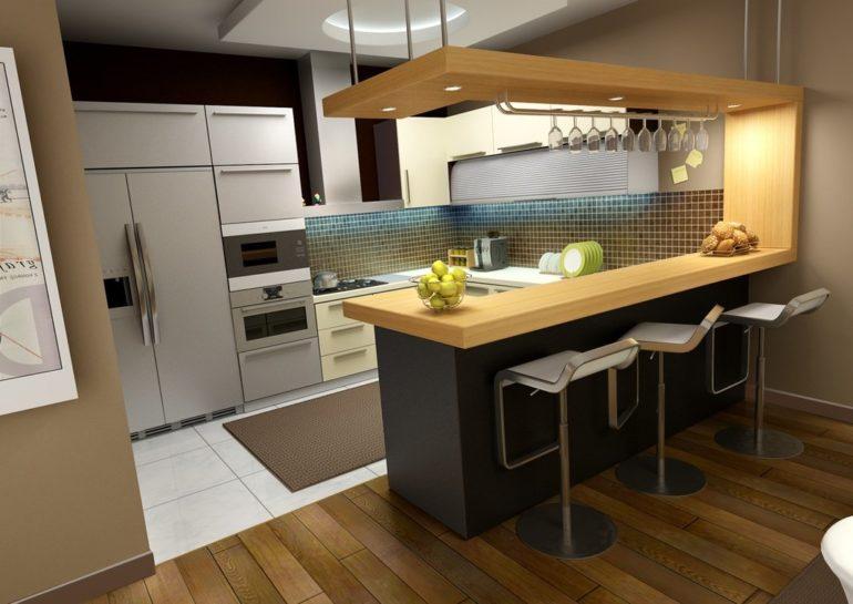На стесненной кухне барный стол может одновременно служить обеденной зоной и местом для приготовления пищи