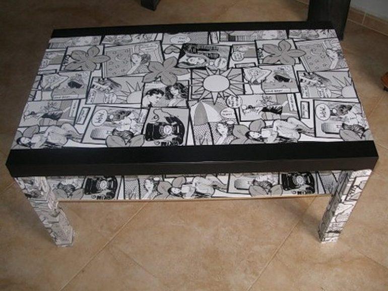 Декупаж стола вырезками из журнала комиксов