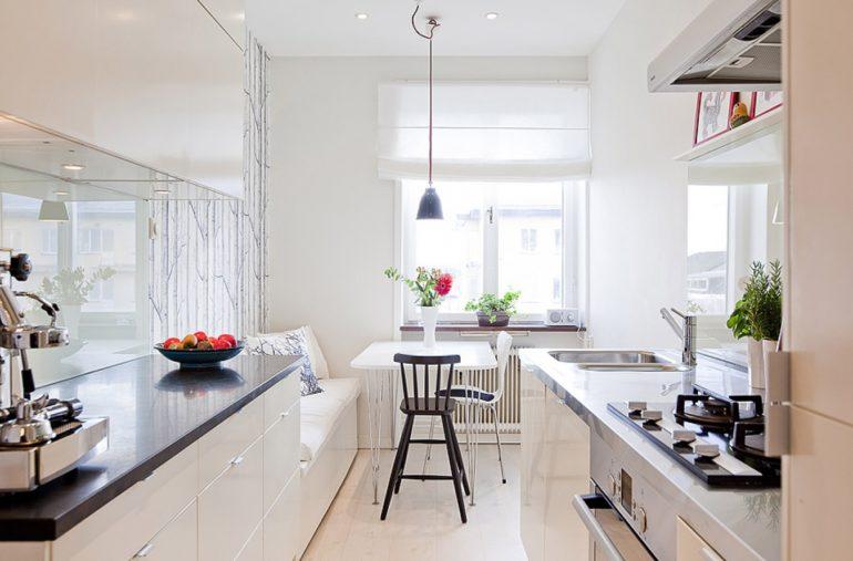 Кухня двухрядной параллельной планировки