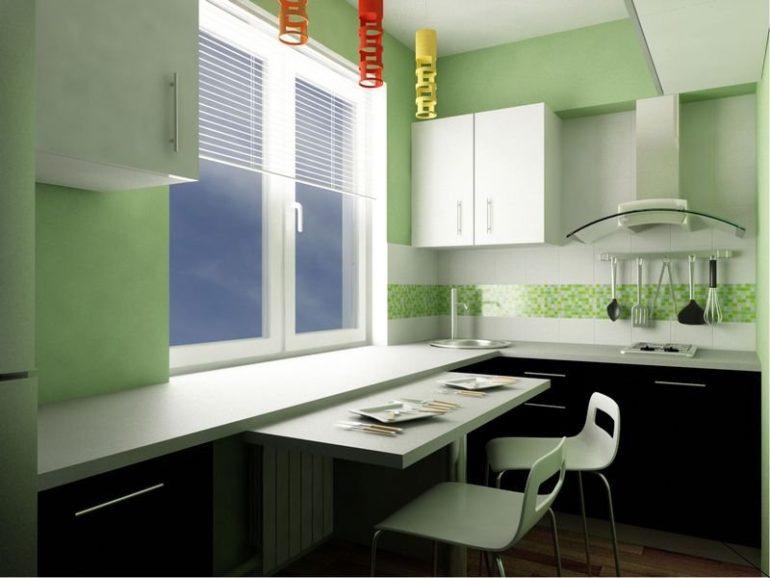 Для небольшой кухни подходит легкий декор, светлые стены, отсутствие лишних деталей и практичная мебель