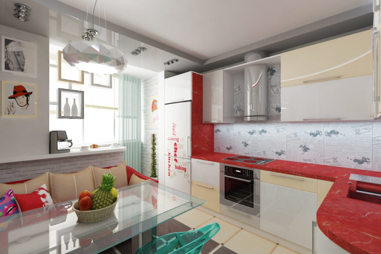 Присоединение балкона увеличивает площадь кухни и улучшает освещение помещения