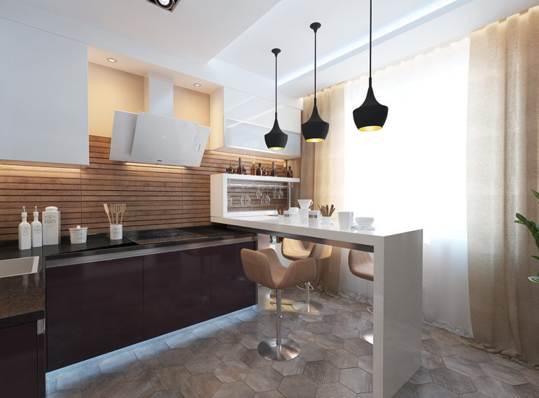 В дизайне кухни с таким метражом возможно всё