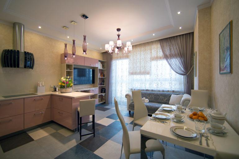 Полуостров наиболее актуален для кухни-студии, где служит элементом зонирования