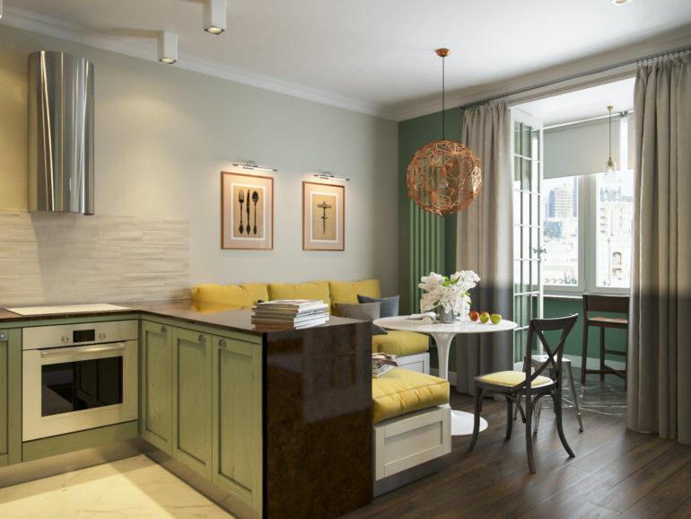Кухонный полуостров упирается одной стороной в стену и оставляет пространство для обеденной зоны