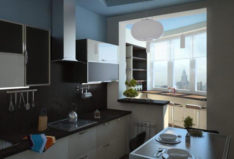 С помощью балкона можно значительно разгрузить кухонное пространство, например, вынести на него обеденную зону