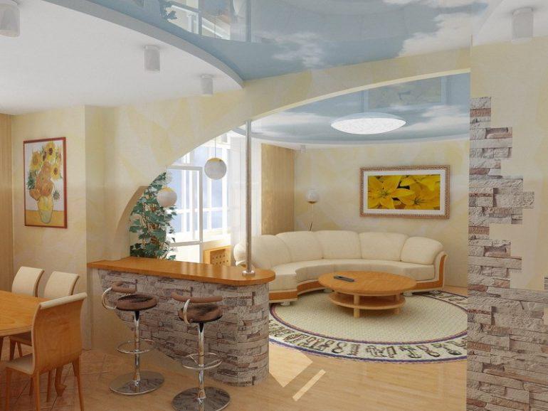 Островная или полуостровная барная стойка может объединяться с обеденным столом или с домашним баром