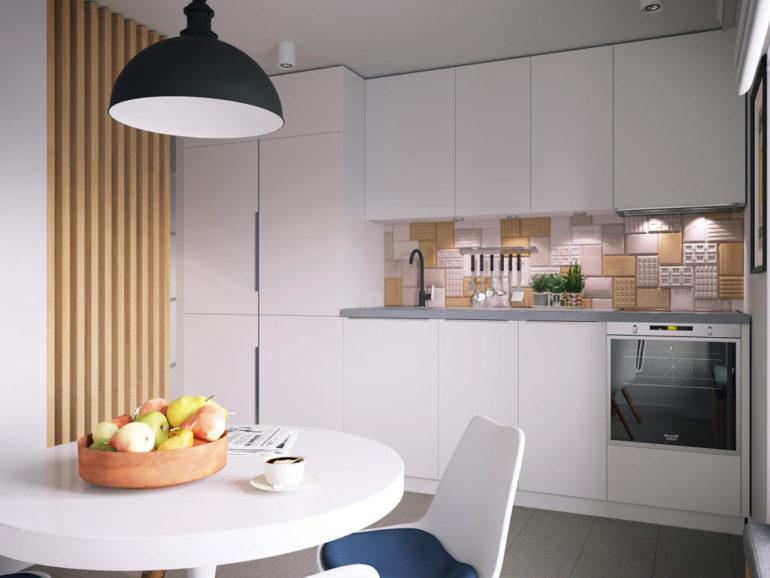 Кухня в светлых тонах визуально кажется просторнее