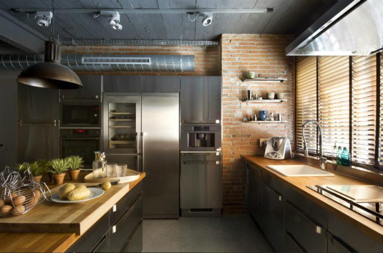 Кухня в стиле лофт – слияние грубых строительных материалов с современной бытовой техникой