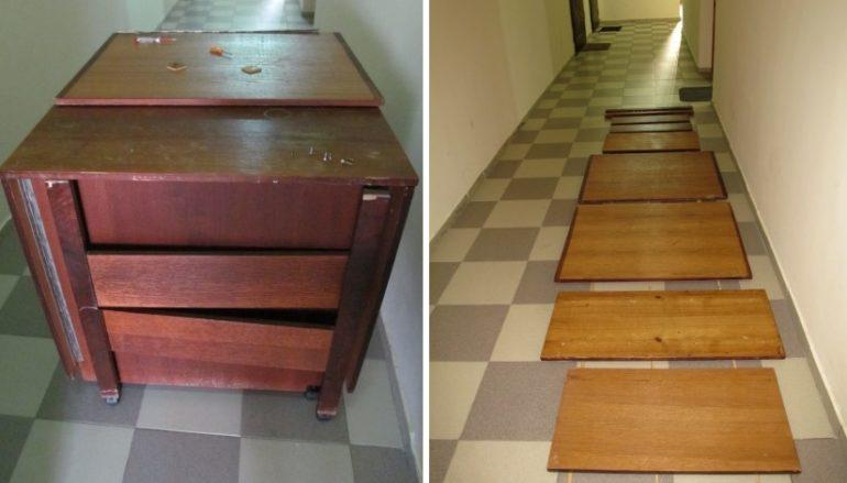 Для качественной подготовки поверхностей стол лучше разобрать на детали