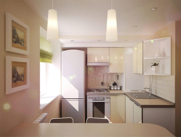 Светлые оттенки зрительно расширяют маленькую кухоньку