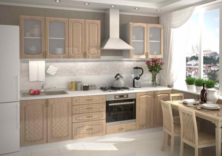 Больше всего прямые кухни подходят для помещений в форме вытянутого прямоугольника или для небольших комнат, где нет места для угловой мебели