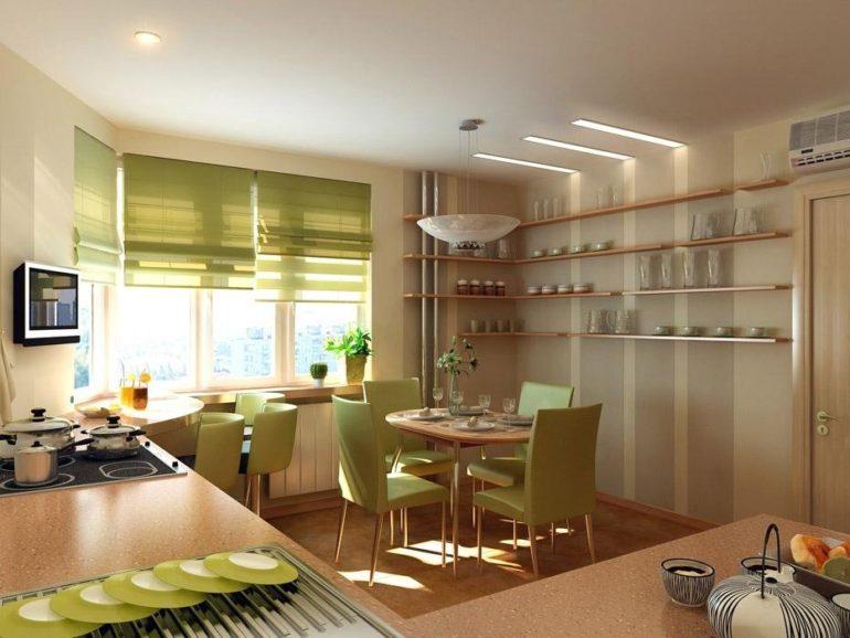 При желании на кухне площадью 12 кв. метров можно сделать две обеденные зоны