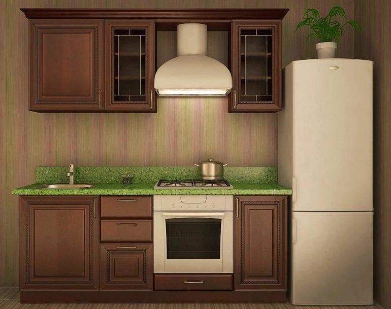 Кухонный гарнитур линейной планировки длиной в 2 метра – есть всё, но по минимуму