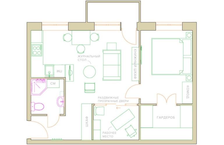 План квартиры после объединения кухни и гостиной