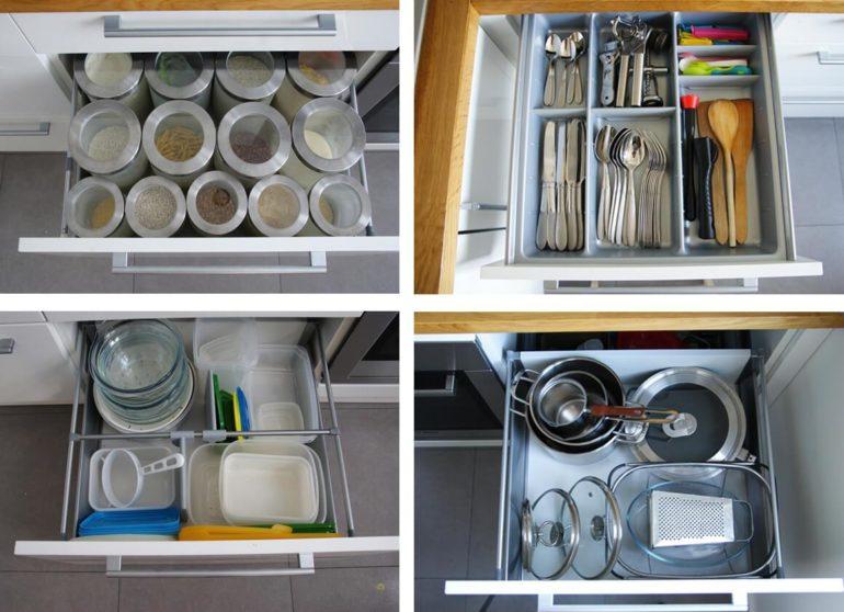Выдвижные ящики с кухонной утварью