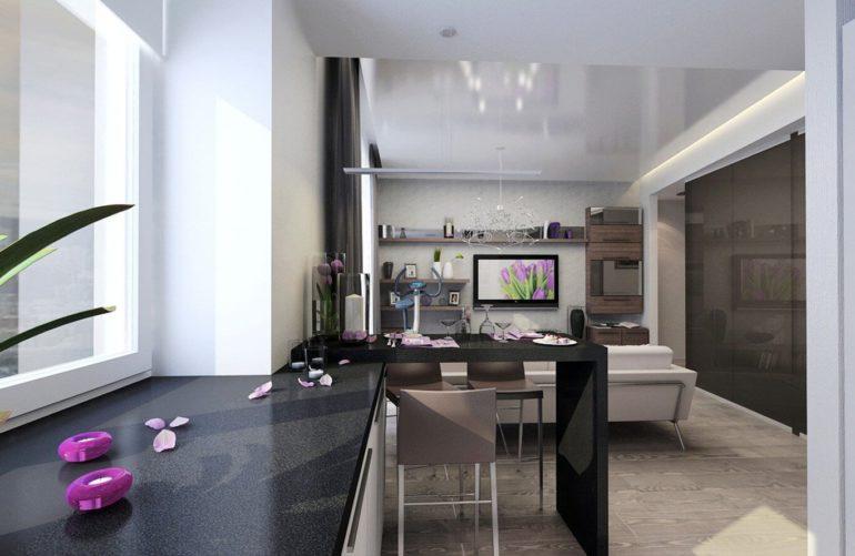 Кухню и гостиную разделяет барная стойка в стиле кухонного гарнитура