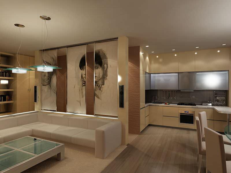 Объединив в хрущевке кухню с гостиной, можно получить довольно большое помещение, которое станет уютным и практичным местом для жизни