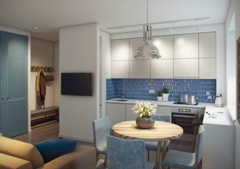 Г-образная планировка квадратной кухни