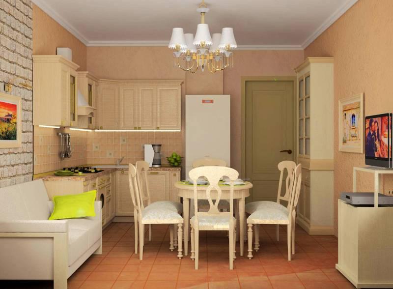 Подобный интерьер превращает кухню в уютную гостиную, в которой приятно провести время за чашечкой чая