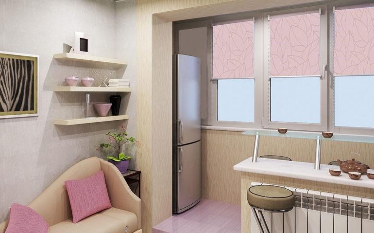 Для расширения этой кухни был демонтирован старый оконный блок с дверью и утеплился балкон