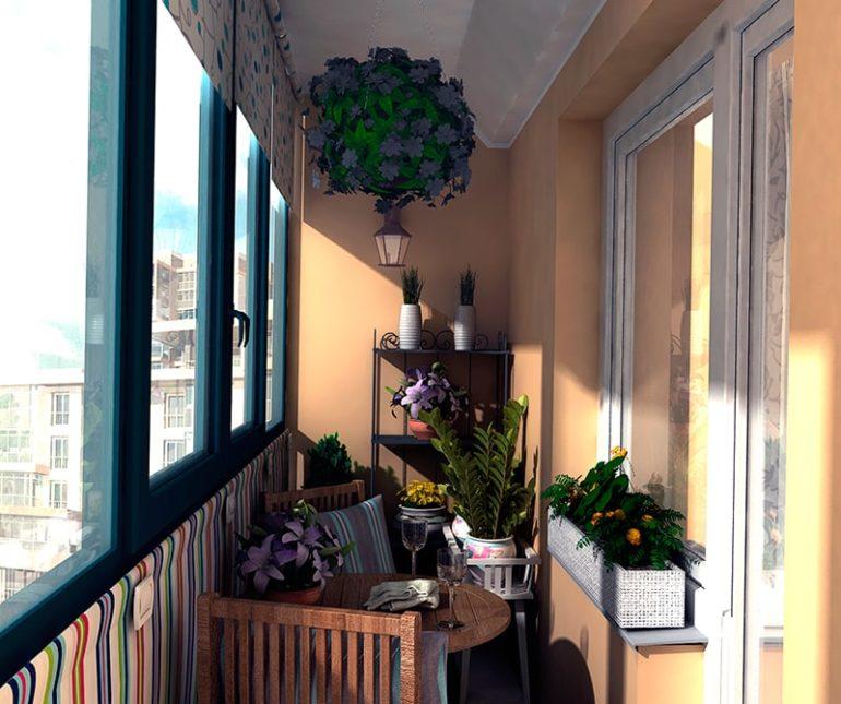 При организации на балконе зимнего сада следует учитывать требования растений к влажности и освещенности