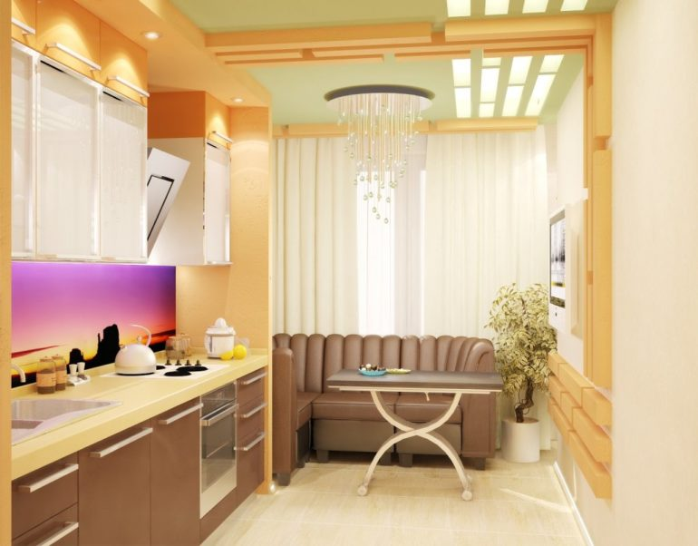 На этой кухне после полного демонтажа балконной стенки появилась возможность разместить мягкую мебель