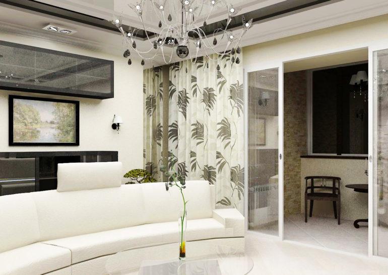 Раздвижное остекление от пола до потолка полностью разделяет кухню и балкон в закрытом положении, а в открытом создает ощущение единого пространства