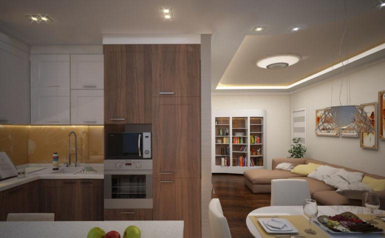 В процессе перепланировки частично или полностью сносится стена между кухней и комнатой, и получается довольно просторное общее пространство