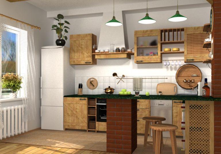 Кухня-студия в стиле кантри