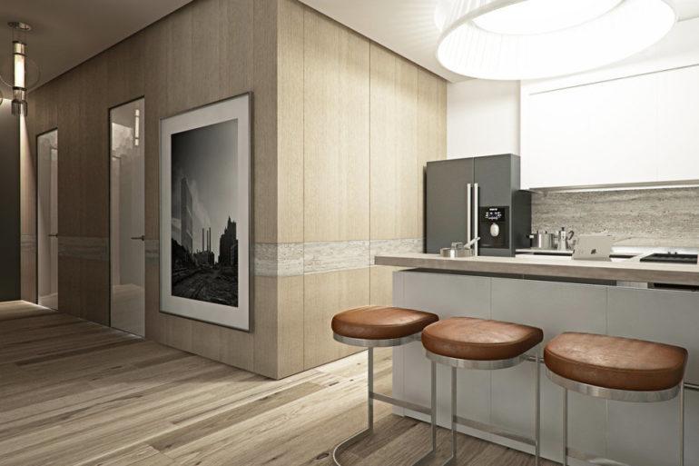 Кухня-студия в стиле хай тек