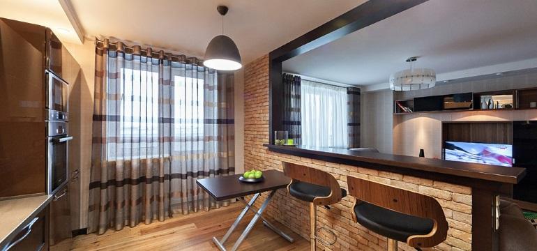 кухня студия с барной стойкой фото дизайн интерьера оформление