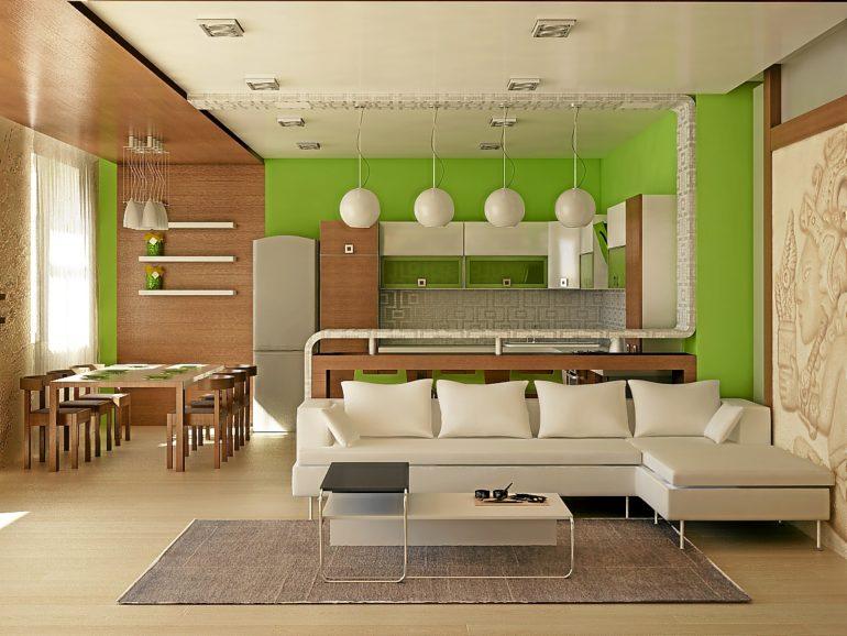 Открытая планировка кухни-студии делают помещение больше, а пространство – функциональнее