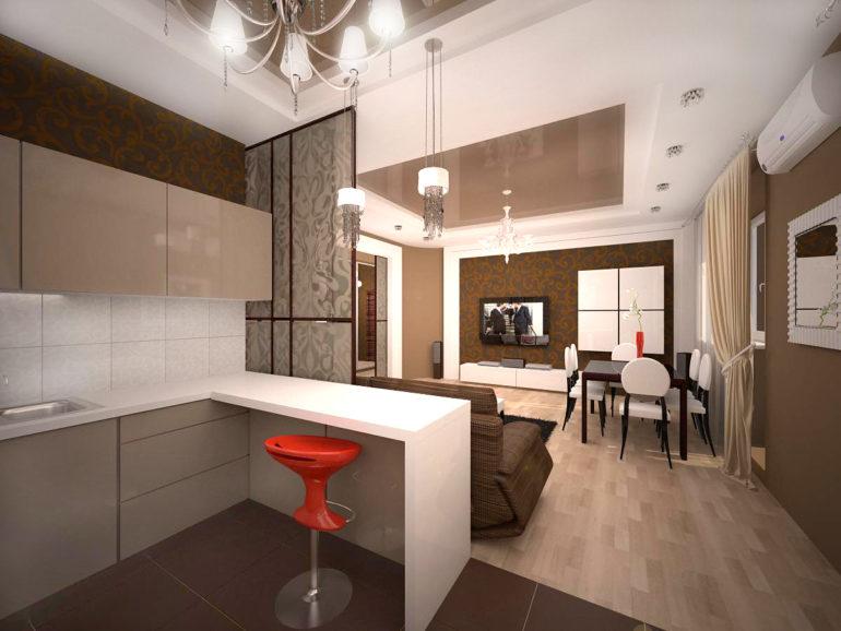 Кухня-гостиная в стиле минимализма