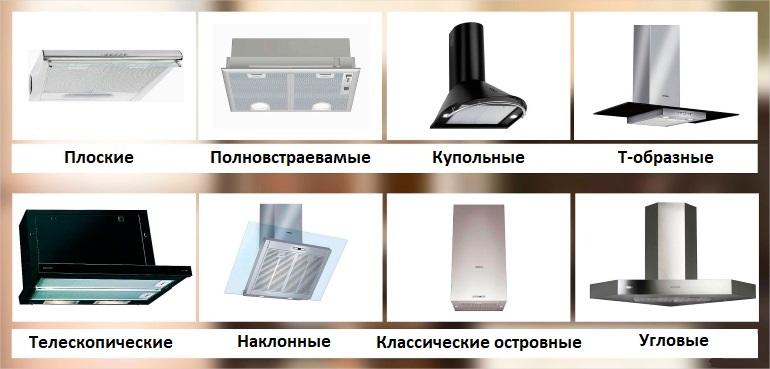 Основные разновидности кухонных вытяжек