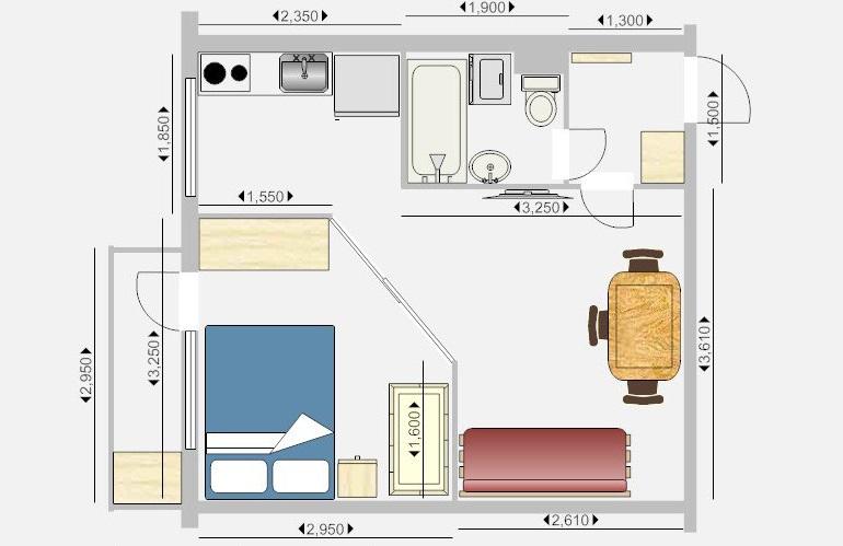 Вариант 1 перепланировки однокомнатной хрущевки: объединение кухни с комнатой и перенос стола в комнату