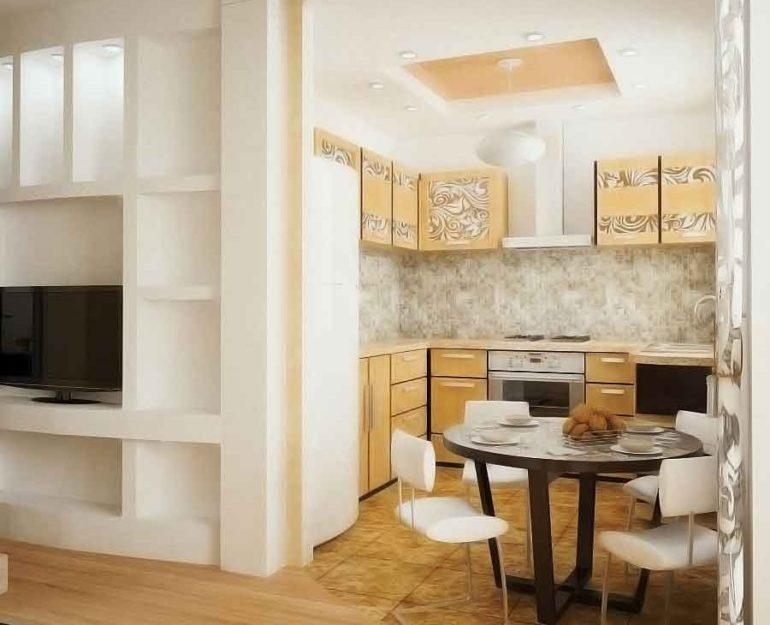 Установка стола между комнатами не сильно уменьшит гостиную и в то же время добавит немного заветной площади на кухне