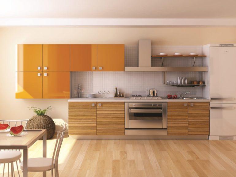 Кухни прямой планировки самые недорогие, если покупать готовый гарнитур, да и самостоятельно спроектировать такую кухню совсем несложно