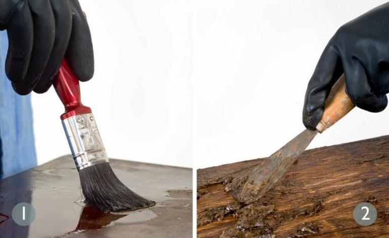 Старое лакокрасочное покрытие удаляется механическим способом или с помощью специальной смывки
