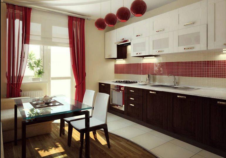 Важно, чтобы дизайн штор сочетался с оформлением дверного проема и не нарушал общую стилистику кухни