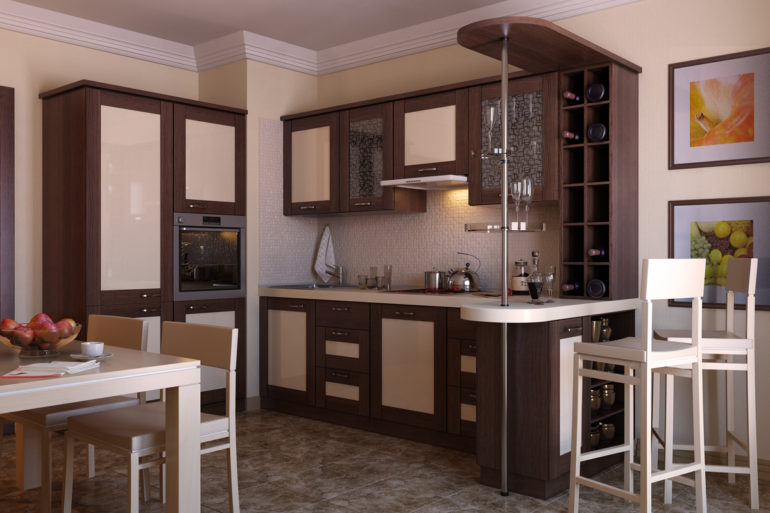 Облегченный дизайн барной стойки подойдет как для самых маленьких кухонь, так и для помещений средней площади