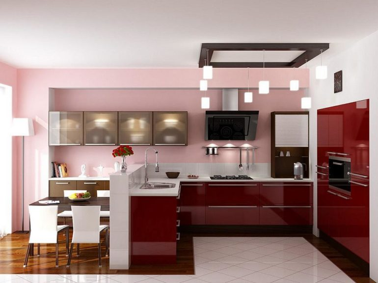 Акриловое покрытие кухонных фасадов легко узнать по своеобразному глянцу